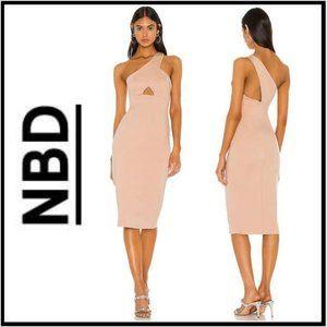 NWOT NBD Scorpio Season Taupe Midi Dress, XS